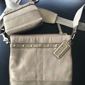Authentic Coach crossbody with matching zip pouch